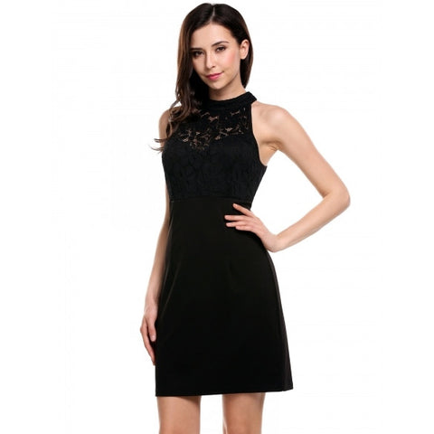 Women Sexy Stand Collar Sleeveless Lace Patchwork Hollow Out Elastic Slim Package Hip Dress