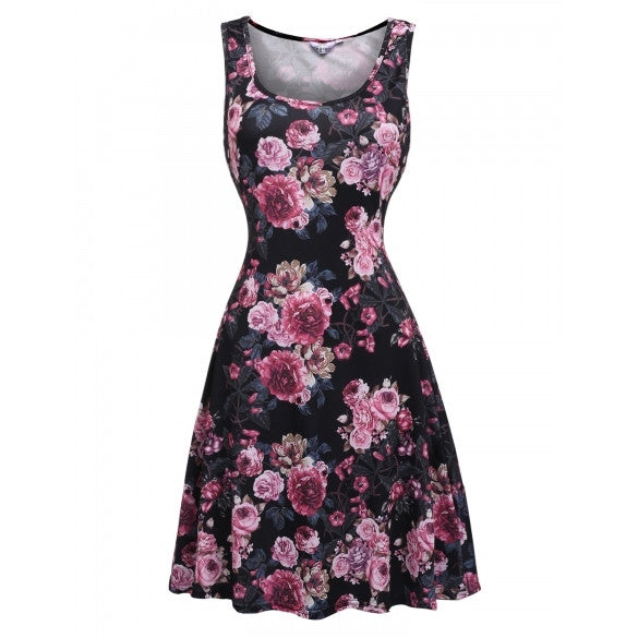 Women Sleeveless Fit And Flare Floral Print Casual Tank Dress