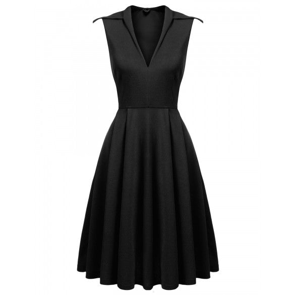 Women Vintage Style Sleeveless Party Swing Dress
