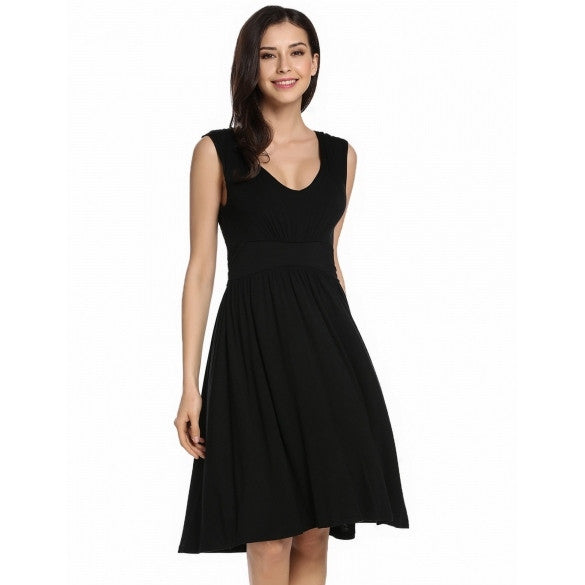Women V-Neck Sleeveless Solid Fit And Flare Casual Dress