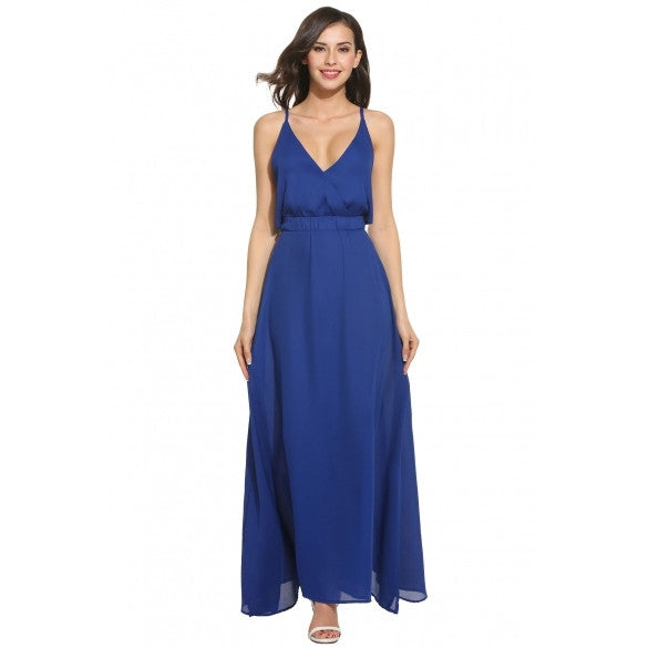 Women Casual Sleeveless Solid V Neck Backless Sexy Maxi Dress