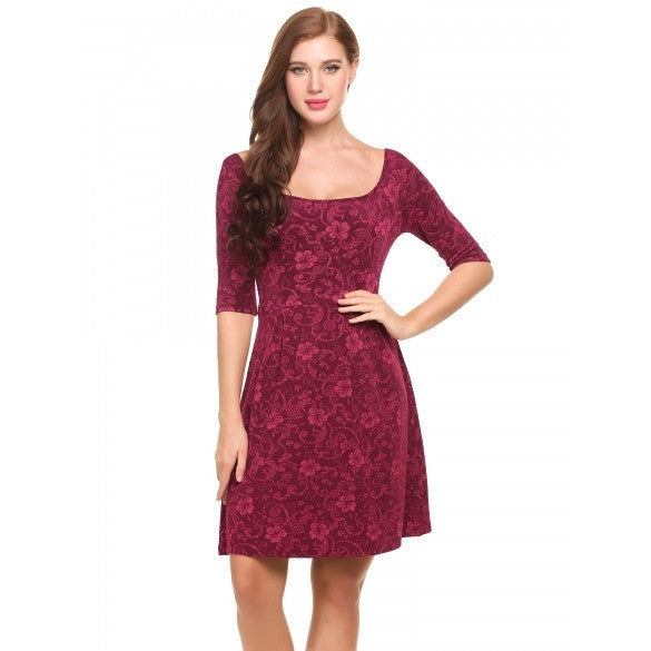 Women Boat Neck Half Sleeve Floral Cocktail Party Skater Dress