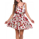 Women Sleeveless High Waist Floral Fit And Flare Mini Dress