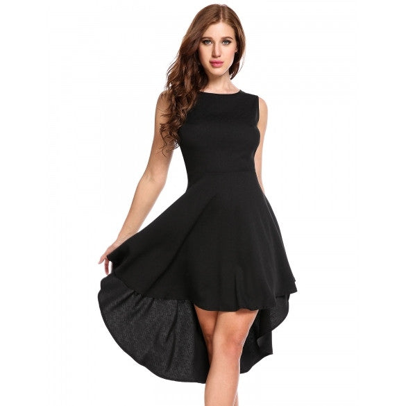 Women Sleeveless High Waist Solid Asymmetrical Dress