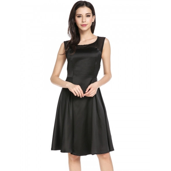 New Women Casual O-Neck Sleeveless Mesh Patchwork See-through A-Line Pleated Hem Dress