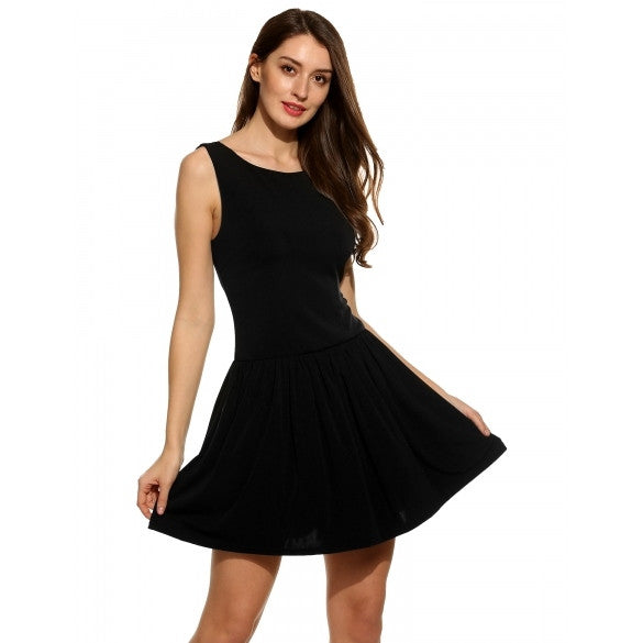 New Women Casual V-Neck Sleeveless Pleated Pleated Dress
