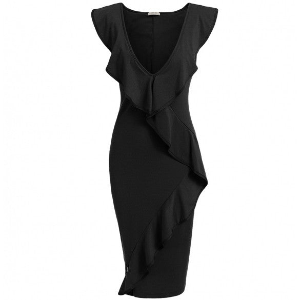 New Women Sexy V-Neck Sleeveless Asymmetrical Hem Tunic Business Cocktail Party Elastic Dress With Ruffle Brims