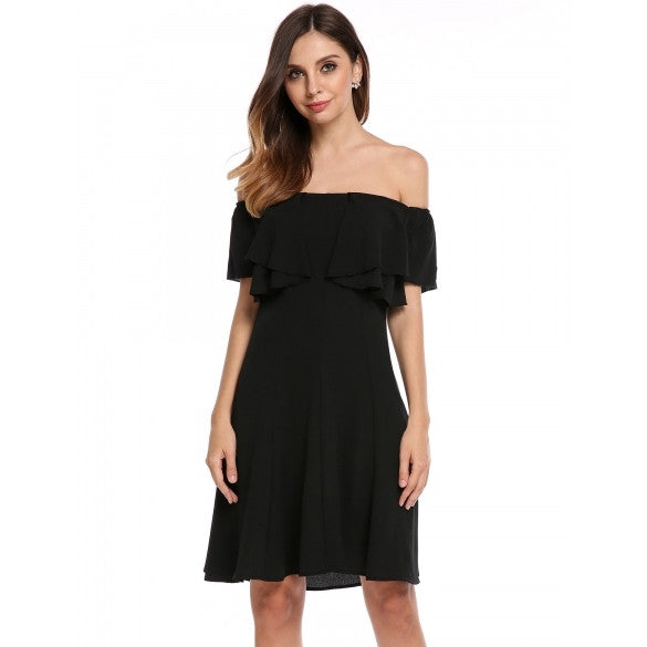 Women Sexy Slash Neck Off Shoulder Solid Ruffle Sleeve A-Line Pleated Hem Tunic Ruffle Brim Chiffon Dress