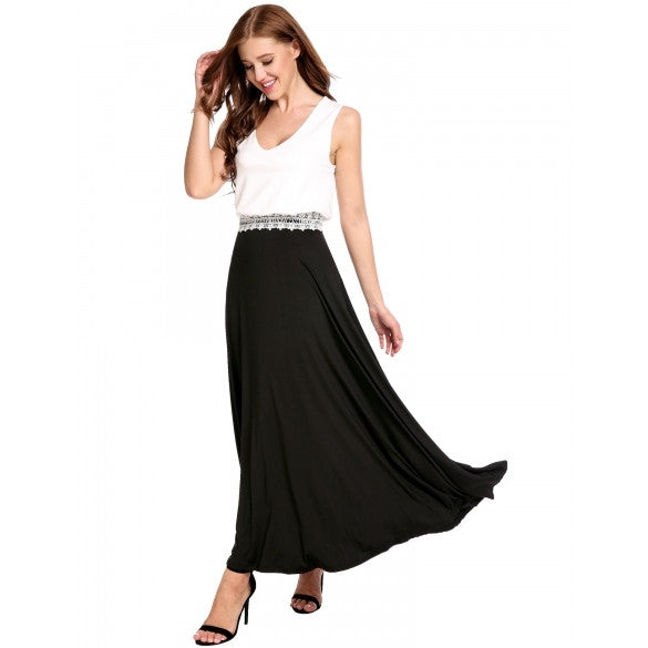 Women Casual V-Neck Double Layers Pleated Tank Patchwork Decorative Lace Brim Elastic A-Line Pleated Hem Dress