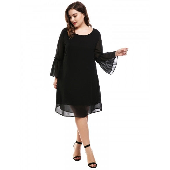 Women's Flare Sleeve Casual Loose Chiffon A-Line Dress Plus Size