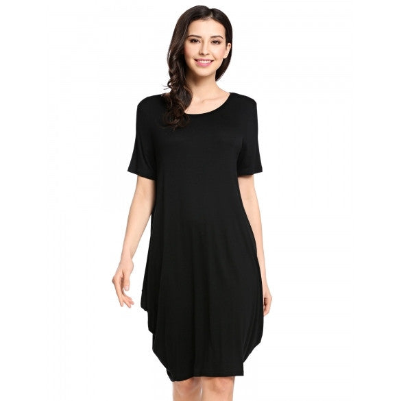 Women Casual Short Sleeve Loose Asymmetrical Tunic Dress