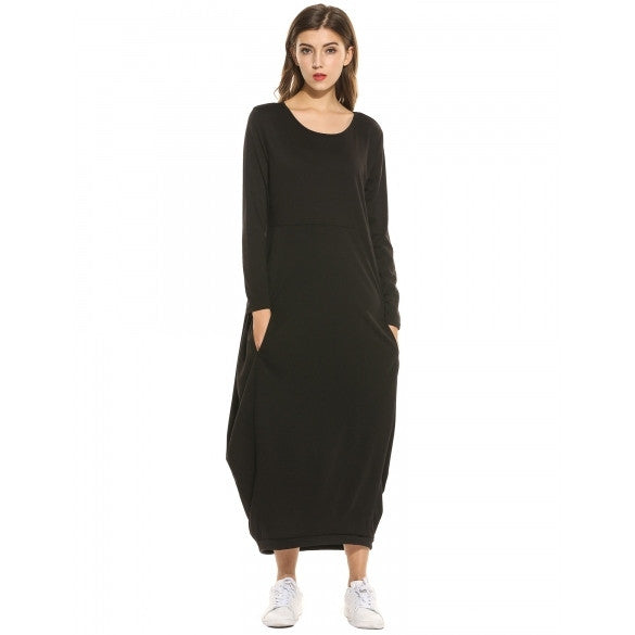 Women Long Sleeve Solid Casual Loose Fit Pockets Maxi Long Dress