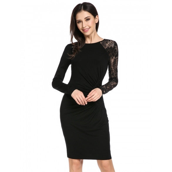 Women's Long Sleeve Lace Patchwork Side Ruched Bodycon Dress