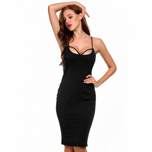 Women Strap Backless Sleeveless Solid Party Club Dress