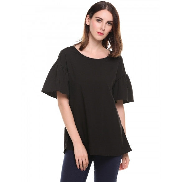 Women Round Neck Flare Short Sleeve Solid Loose T-Shirt Blouse Top