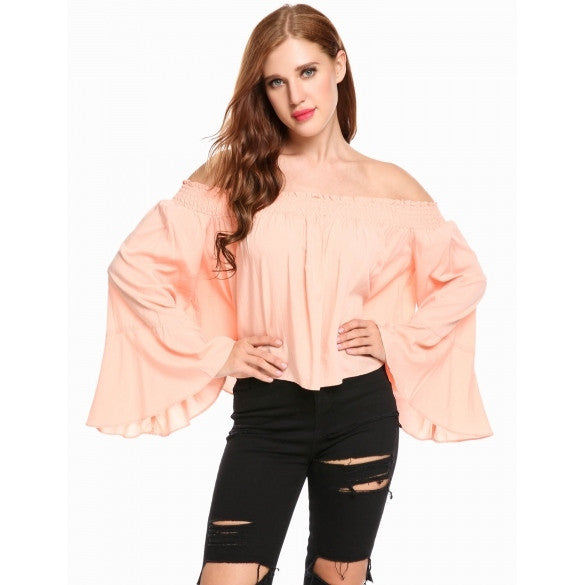 Women Off Shoulder Flare Sleeve Solid Loose Fit Blouse Tops