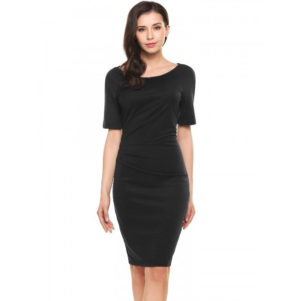 Women Slim Half Sleeve Side Ruched Bodycon Pencil Dress