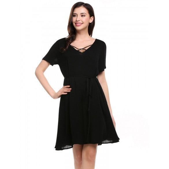 Women V-Neck Short Sleeve Solid Casual Loose Fit Tunic Dress With Belt