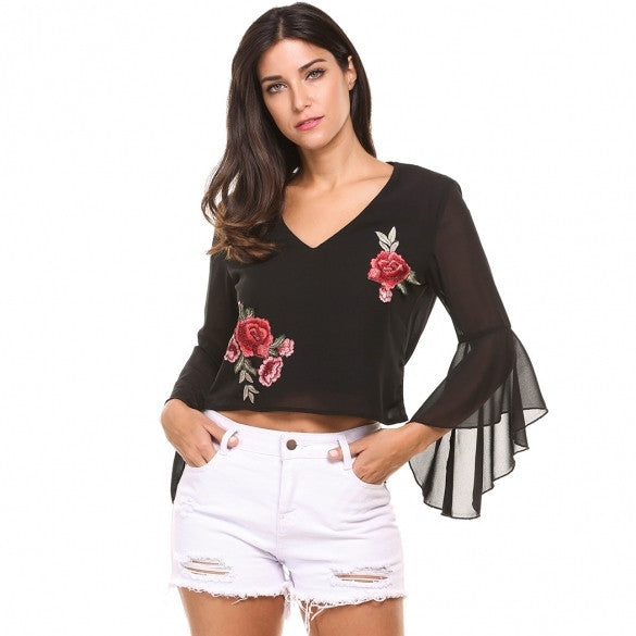 Women Casual Flare Sleeve V Neck Floral Embroidery Backless Pullover Elegant T-Shirt