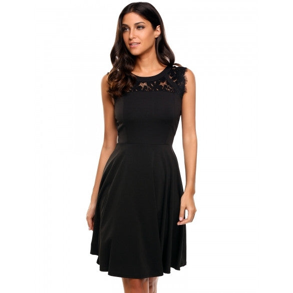 New Women Casual O-Neck Sleeveless Lace Patchwork Hollow Out A-Line Pleated Hem Elastic Dress