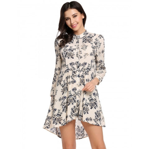 Casual 3/4 Sleeve Stand Collar Print Long Shirt Blouse