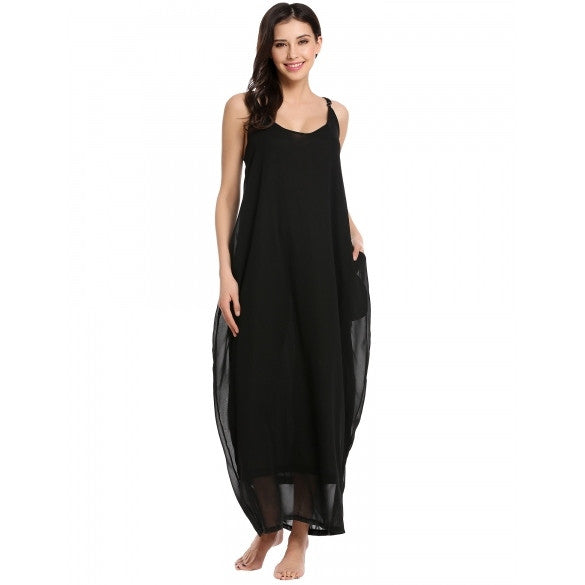Women Casual Sleeveless Spaghetti Straps Solid Side Pockets Back V Pullover Cover-up Maxi Dress