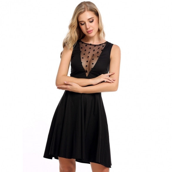 Women Sleeveless Lace Up Back Cocktail Party Swing Skater Dress