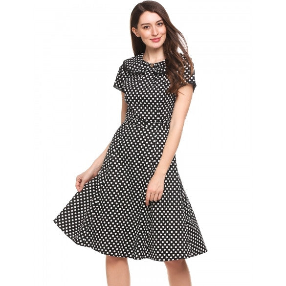 New Women Vintage Styles Doll Collar Cap Sleeve Dot A-Line Pleated Hem Dress With Waist Belt