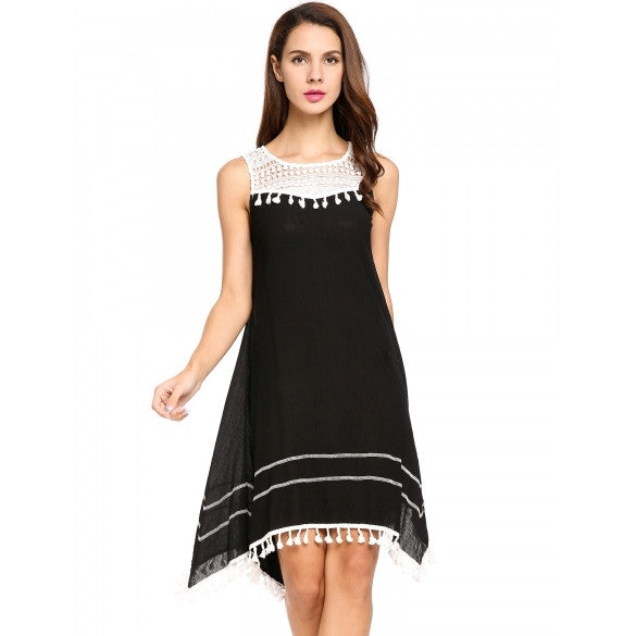 New Women Casual O-Neck Sleeveless Lace Patchwork Chiffon A-Line Asymmetrical Pleated Hem Tassel Dress