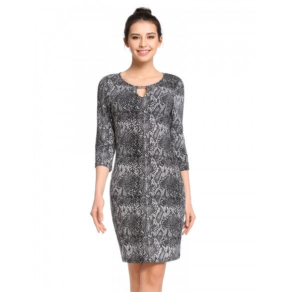 New Women Casual O-Neck Three Quarter Sleeve Prints Elastic Pullover Slim Dress