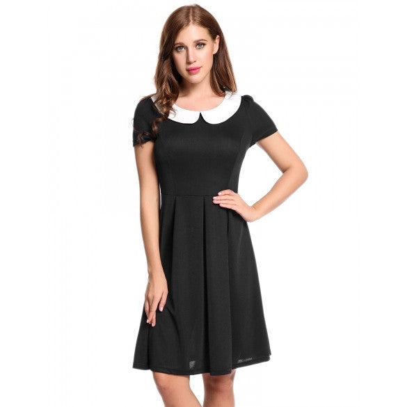 Women Casual Short Sleeve Contrast Color Doll Collar Pullover Vintage Style A-Line Dress