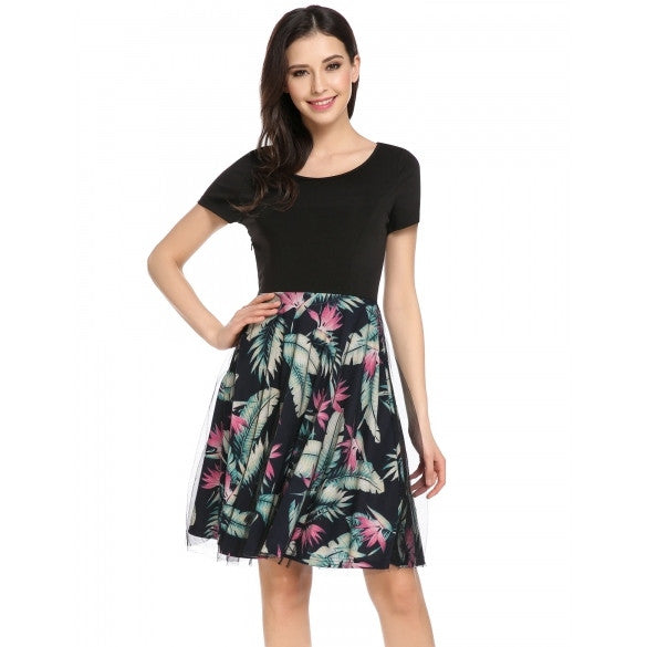 Women Short Sleeve Mesh Patchwork Print Cocktail Party Skater Dress