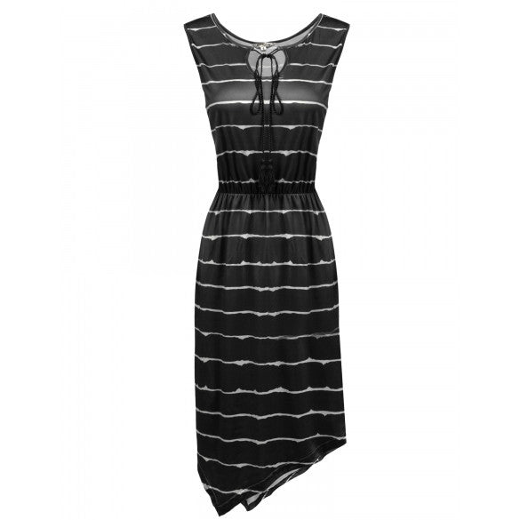 Women's Sleeveless Striped Asymmetrical Hem Casual A-Line Dress