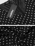Women V-Neck Lantern Sleeve Polka Dot Casual Fit And Flare Chiffon Dress