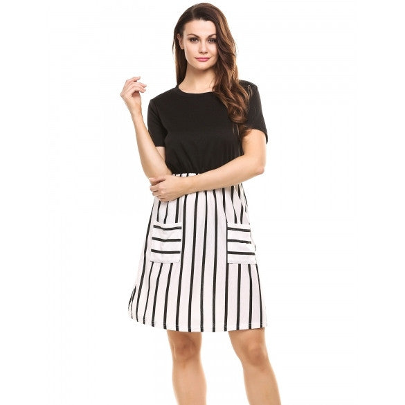 New Women Casual O-Neck Short Sleeve Striped Patchwork Elastic A-line Dress With Pockets