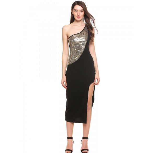 Casual Oblique Collar Sleeveless One Shoulder Front Split Hem Sequins Patchwork Elastic Maxi Dress