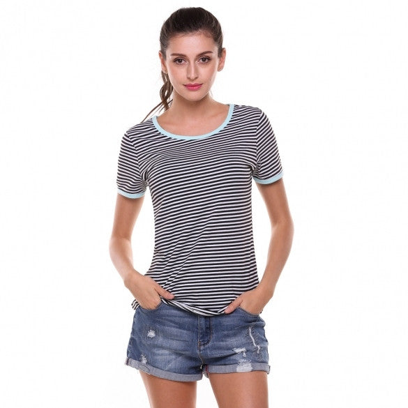 New Women Casual O-Neck Short Sleeve Contrast Color Striped Elastic Pullover T-Shirt