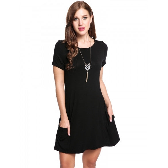 New Women Casual O-Neck Short Sleeve Solid Pleated Hem Elastic Pullover Dress With Pockets