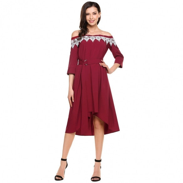 Casual Slash Neck Off Shoulder 3/4 Sleeve Pleated Dress Wifh Belt