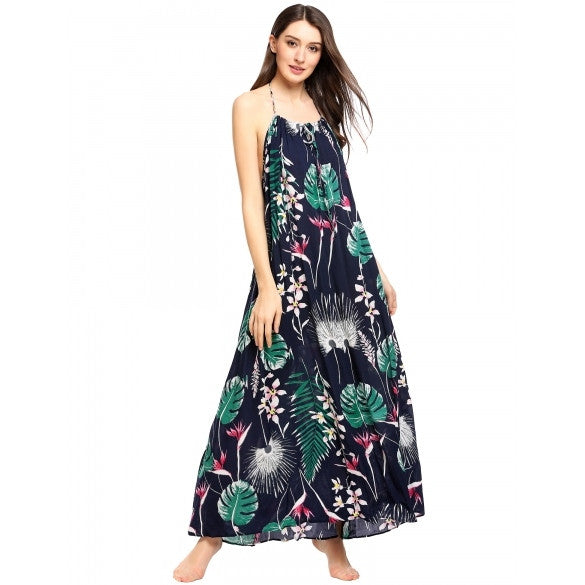 Women Halter Sleeveless Backless Floral Looe Maxi Dress