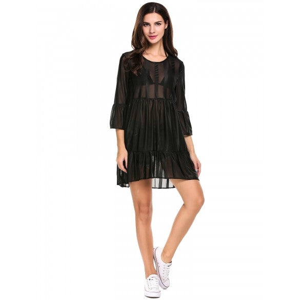 Women Sexy Striped Sheer Mesh 3/4 Flare Sleeve Asymmetrical Party Club Mini Dress