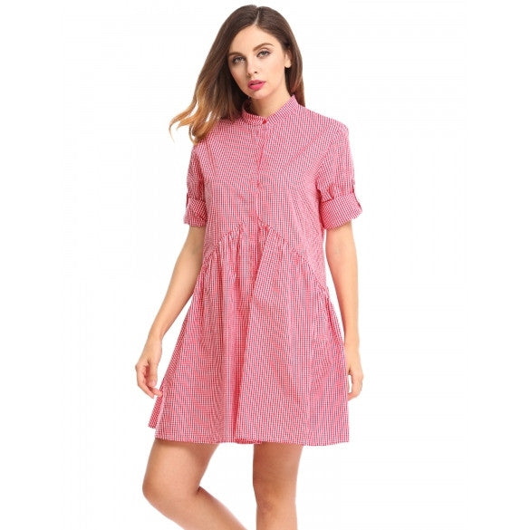 63c629c213d Women Long Sleeve Plaid Button Down A-Line Short Shirt Dress – Sheinchic.com