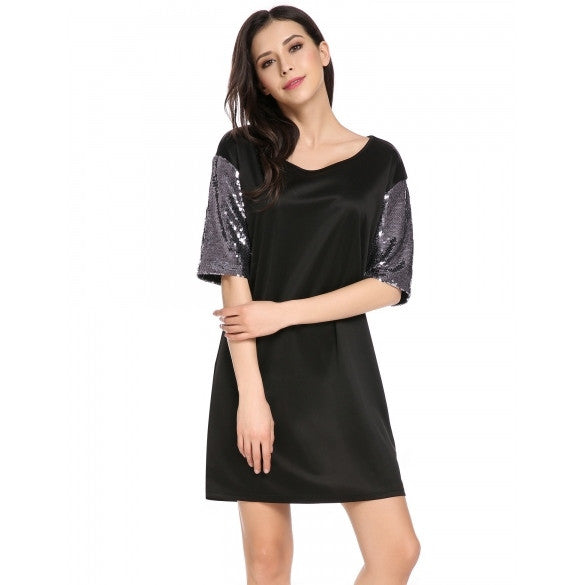 Women Sequined Short Sleeve Casual Loose Fit Shift Dress