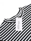 Women Casual Flare Half Sleeve Striped A-Line T-Shirt Dress