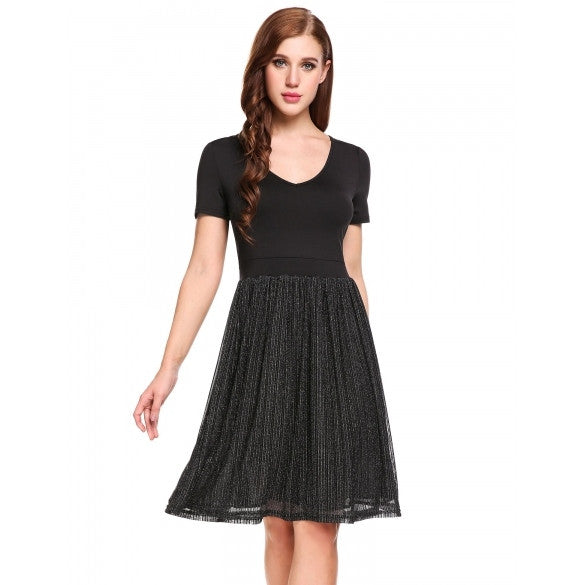 Women Vintage Style V-Neck Short Sleeve Gliter Pleated Dress