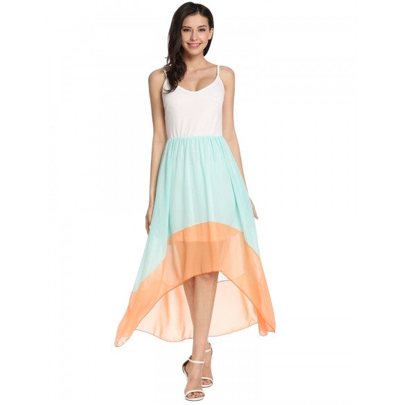 New Women Casual V-Neck Patchwork Asymmetrical Pleated Hem Chiffon Adjustable Spaghetti Straps Beach Dress With Lining