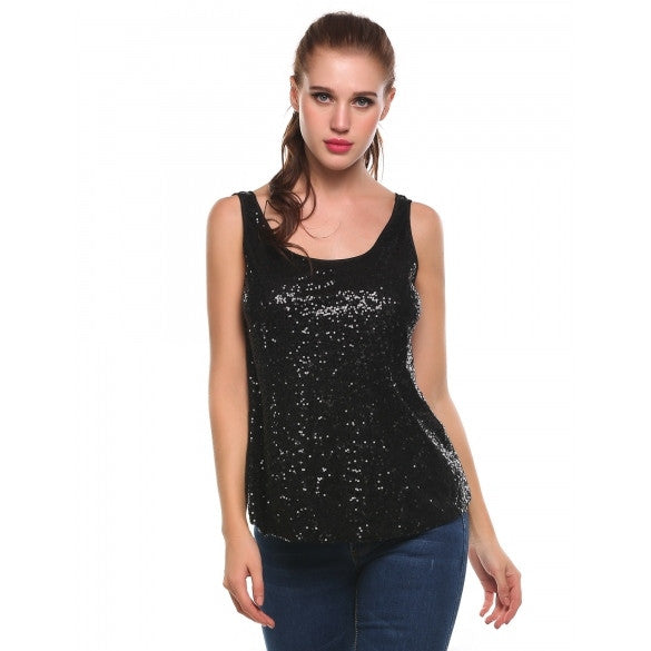 Casual O-Neck Sleeveless Sequins Pullover Tank Tops