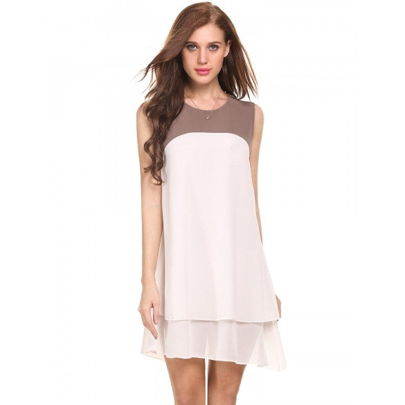 New Women Casual O-Neck Sleeveless Patchwork Asymmetrical Double Layers Chiffon Pleated Hem Tank Dress