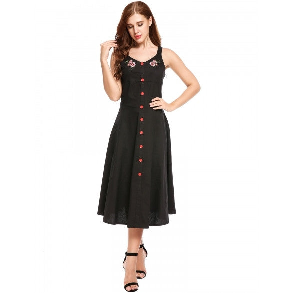 Women Vintage Styles Embroidery Decorative Button A-Line Pleated Hem Dress