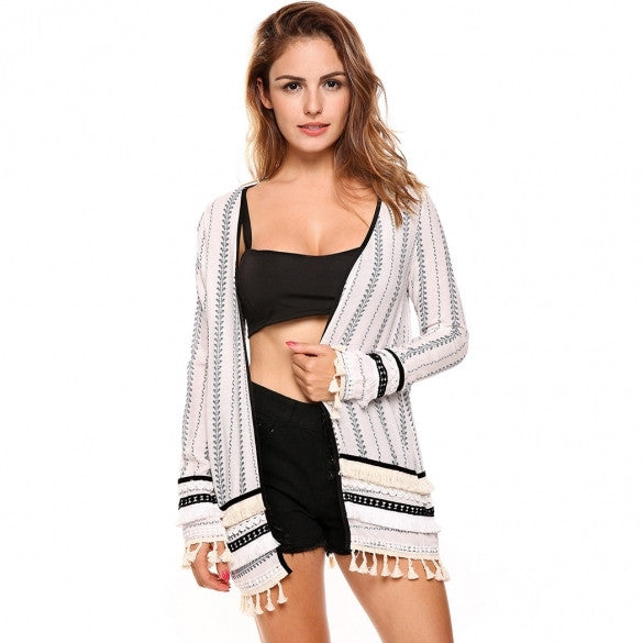 Women Casual Collarless Long Sleeve Prints Open-Front Tassel Cardigan